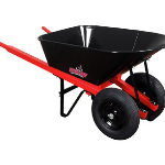 7.0 Cubic foot capacity wheelbarrow with two wheels
