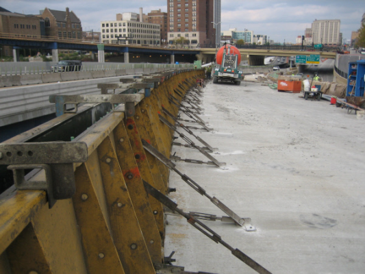 Concrete Metal Barrier Forms used on the Marquette Interchange