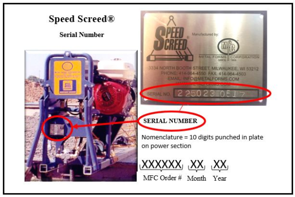 SPEED SCREED S/N NOMENCLATURE