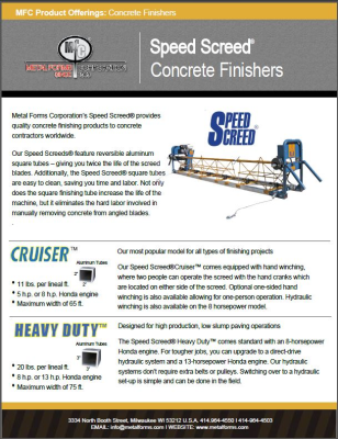 SPEED SCREED® PRODUCT OFFERINGS