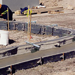 Poly Flexible Curb and Gutter forms being used