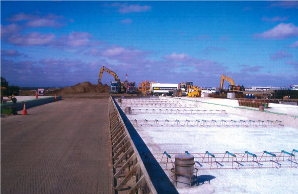 Steel Concrete paving forms used to pave runway at JFK airport